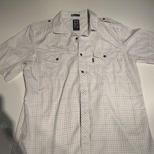 Men's Billa Bong white and gray button down shirt
